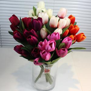 Un Bouquet de 9 Chef Tulip Home Decor Fleur artificielle - Pourpre