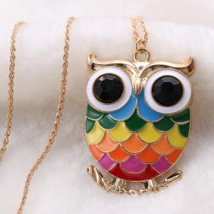 Owl Branch Glaze Pendant Sweater Chain - COLORMIX