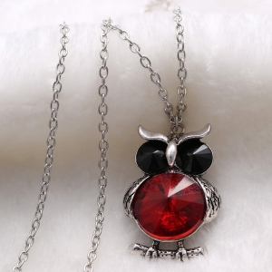 Faux Crystal Owl Pendant Sweater Chain - RED