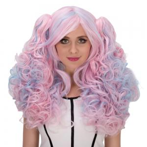 Colored long Fluffy Wavy Avec Personnage Grappes Side Bang Film cosplay perruque -