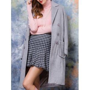Double-Breasted Pocket Design Solid Color Coat -