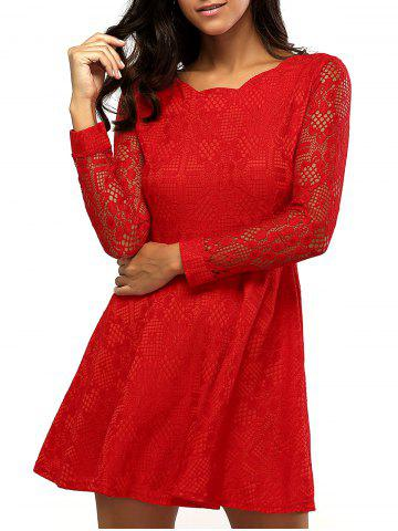 Lace Sleeve Scalloped Neck Skater Dress - Red - M