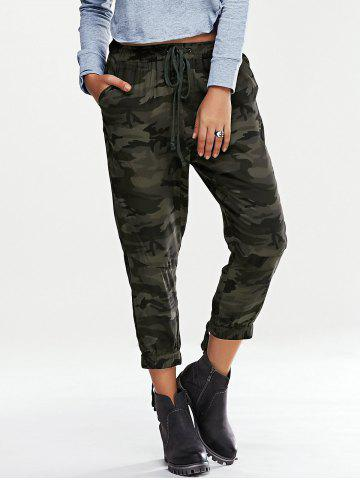 Affordable Trendy Elastic Waist Lace-Up Camouflage Print Women's Pants