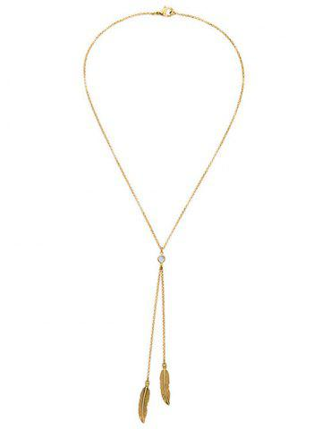 Bohemian Style Gold Plated Leaf Bolo Necklace - GOLDEN