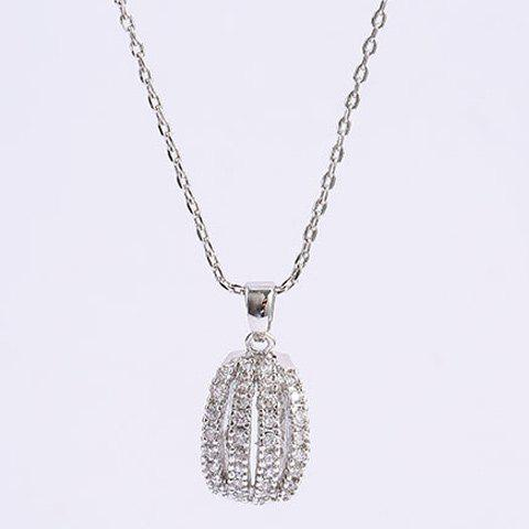 Outfits Rhinestone Curved Alloy Pendant Necklace