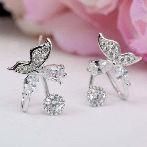 Unique Pair of Stunning Rhinestone Butterfly Earrings