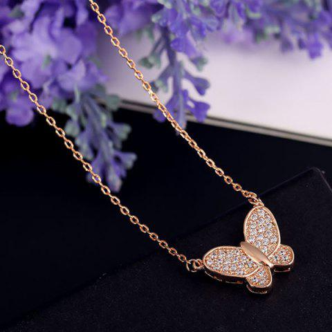 Online Alloy Gold Plated Rhinestone Butterfly Necklace