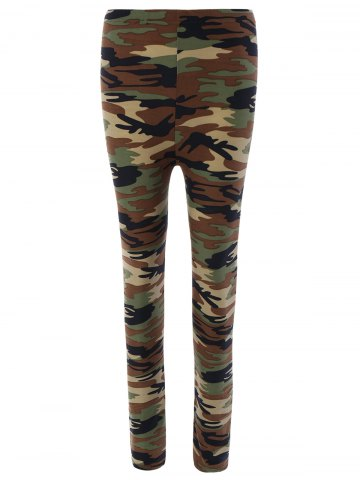 Fashion Elastic Waist Hit Color Camo Print Leggings