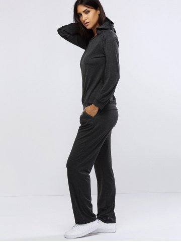 Store Pure Color Hoodie and Loose Fitting Sport Pants Set - L GRAY Mobile