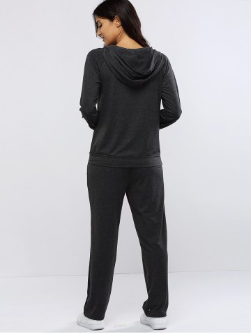 Shop Pure Color Hoodie and Loose Fitting Sport Pants Set - L GRAY Mobile