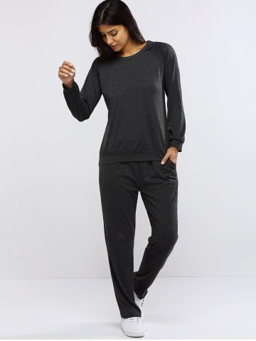 Fancy Pure Color Hoodie and Loose Fitting Sport Pants Set - L GRAY Mobile