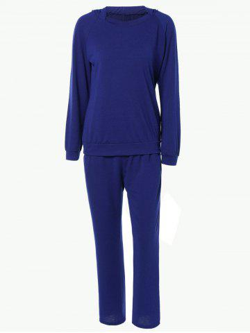 Pure Color Hoodie and Loose Fitting Sport Pants Set - Blue - L