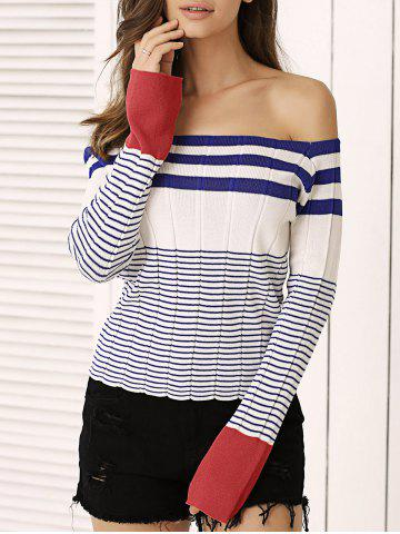 Chic Off-The-Shoulder Striped Knitted Top