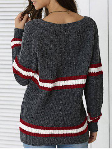 Discount Striped Hit Color Pullover Sweater DEEP GRAY ONE SIZE