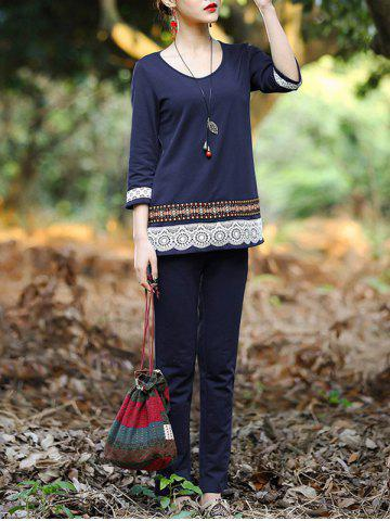Chic Ethnic Laciness Top and Pure Color Pants Suit For Women