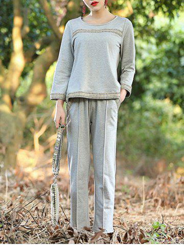 Sale Simple Woven Hem Top and Pants Suit For Women