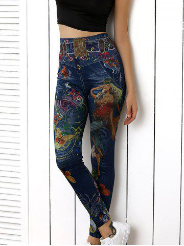 Fashion High Waist Butterfly Print Skinny Pants BLUE ONE SIZE