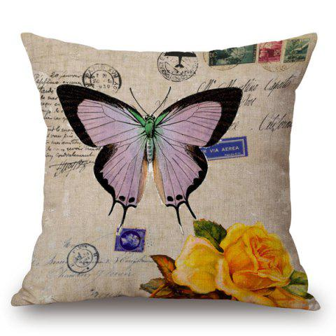 Fancy Butterfly and Rose Printed Pillow Case