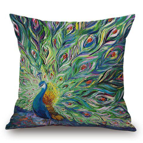 Latest Handpainted Unfolded Tail Peacock Printed Pillow Case