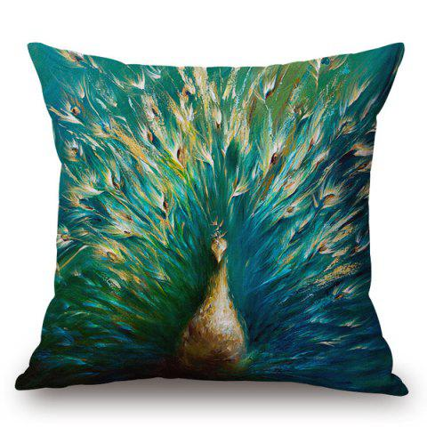 Affordable Doodle Unfolded Tail Peacock Printed Pillow Case