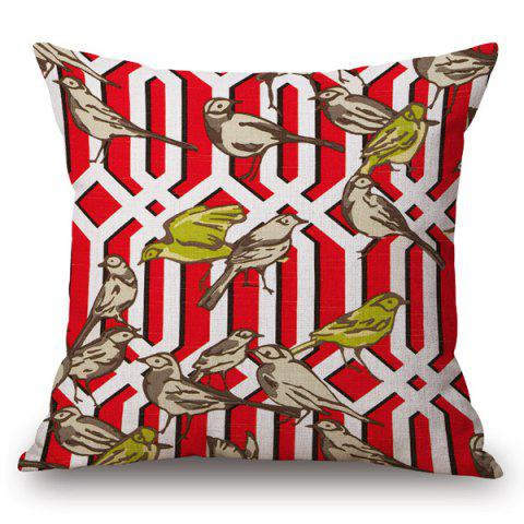 Online Handpainted Birds and Fence Pattern Pillow Case