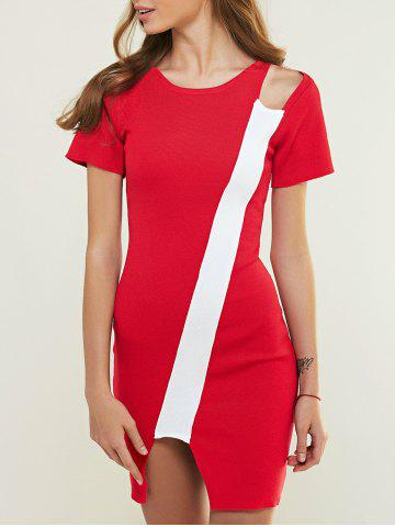 Shop Color Block Cut Out Knitted Bodycon Dress