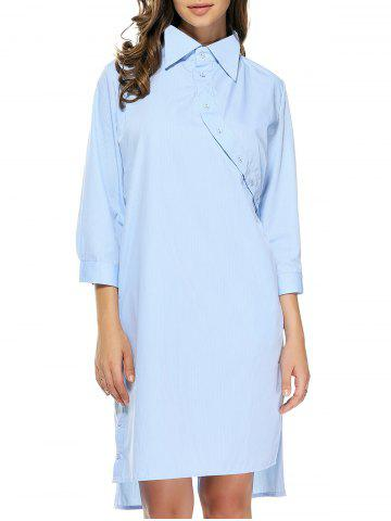 Cheap Backless Twisted Buttoned Striped Shirt Dress LIGHT BLUE XL
