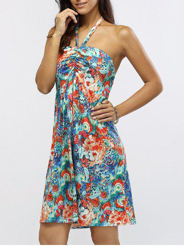 Store Halter Neck Ruched Floral Print Dress