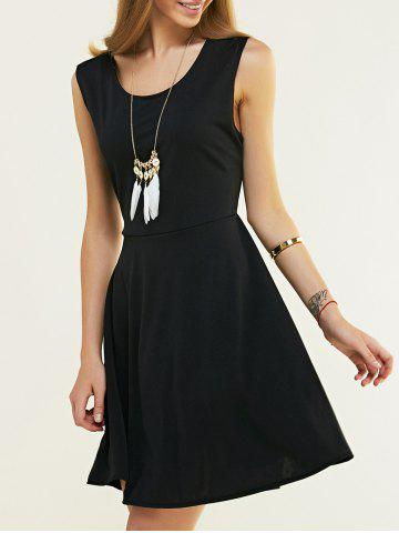 Discount Sleeveless Pure Color Backless Crossover Dress