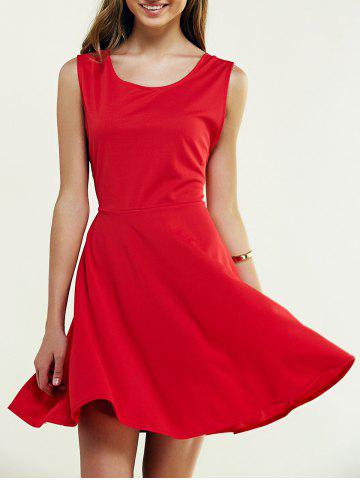 Affordable Sleeveless Pure Color Backless Crossover Dress