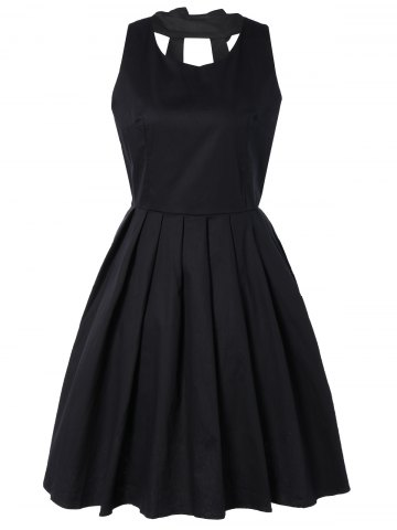 Hot Pure Color Back Bowknot Hollow Out Pleated Dress BLACK M