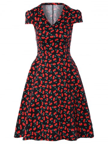 Affordable Vintage V-Neck Cherry Print Fit and Flare Dress