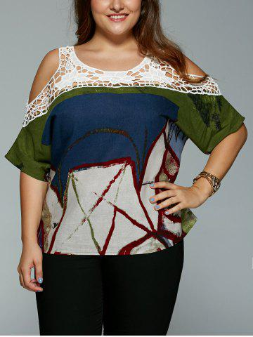 Outfit Plus Size Vintage Tribal Print Lace Spliced Hollow Out Blouse