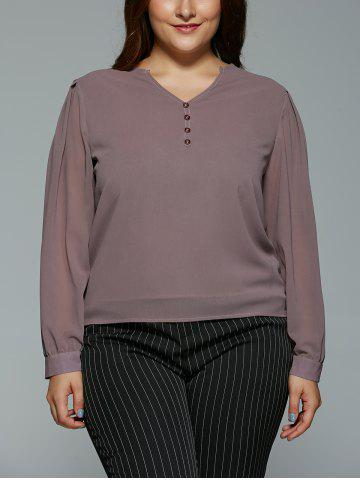 Fancy Plus Size V Neck High Low Buttoned Blouse LIGHT COFFEE 5XL