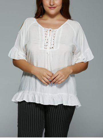 Discount Plus Size Hollow Out Lace Spliced Flounce Blouse