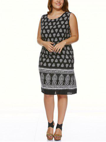 Best Plus Size Tribal Print Casual Sleeveless Dress BLACK 5XL