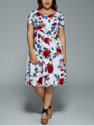 Shop Plus Size V Neck Floral Print Dress