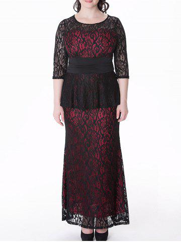 Store Plus Size Peplum Long Lace Formal Dress RED 6XL