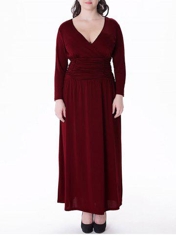 Shops Plus Size V Neck Long Sleeve Prom Maxi Dress WINE RED 3XL