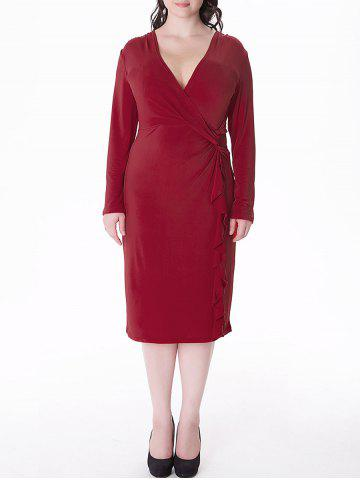 Sale Plus Size Flounce Long Sleeve Sheath Business Midi Dress DEEP RED 5XL
