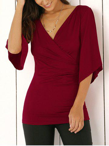 Unique Wrap Plunge Neck Slimming Blouse WINE RED L