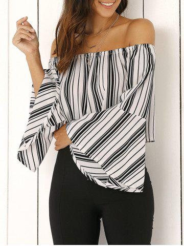 Online Off The Shoulder Bell Sleeve Stripe Cropped Blouse