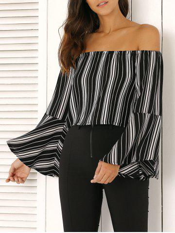 Outfits Off The Shoulder Bell Sleeve Stripe Cropped Blouse