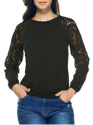 Online Lace Crochet Long Sleeve Round Neck Sweatshirt