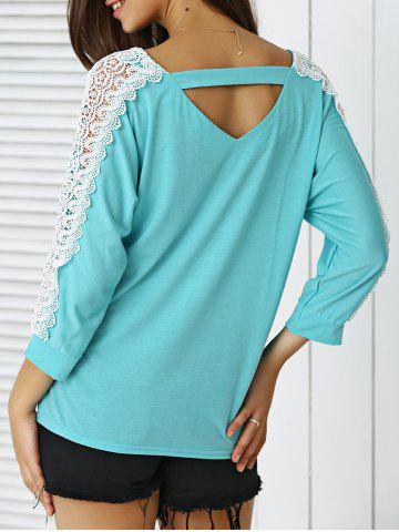 Hot V-Neck Lace Applique Cut Out Blouse
