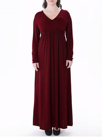 Outfits Plus Size Empire Waist Long Formal Dress WINE RED XL