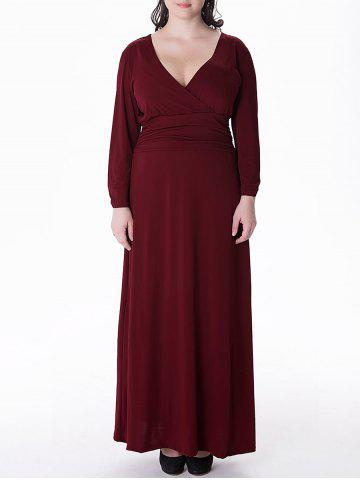 Unique Plus Size Long Surplice Formal Dress with Sleeves WINE RED 3XL