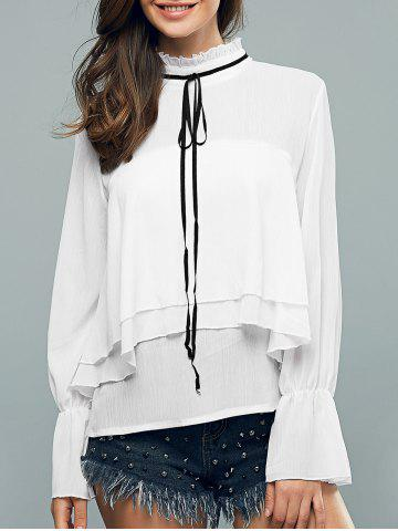 Trendy Ruffled Collar Flounce Long Sleeve Blouse