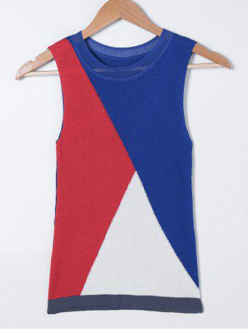Cheap Color Block Jewel Neck Knit Tank Top