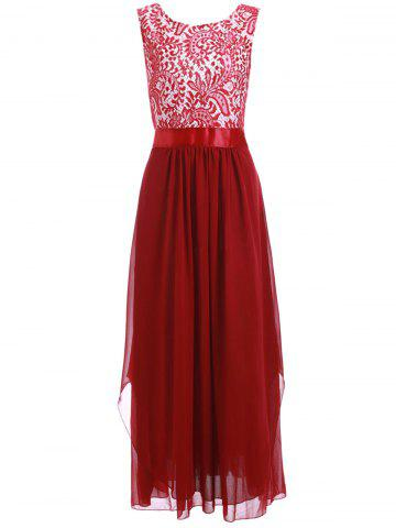 Trendy Lace Panel Chiffon Long Evening Prom Dress WINE RED XL